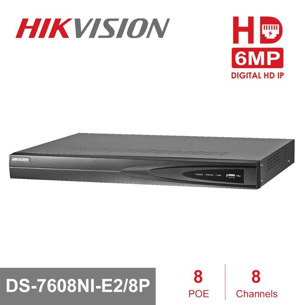 Hikvision видеонаблюдения Системы Onvif 8ch NVR DS 7608NI E2/8 P с 2 SATA и 8 POE Порты HDMI и VGA выход встроенный Plug & Play NVR POE