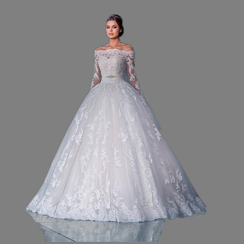 Vintage Lace Wedding Dresses 2016 Long Sleeve Ball Gowns Russian