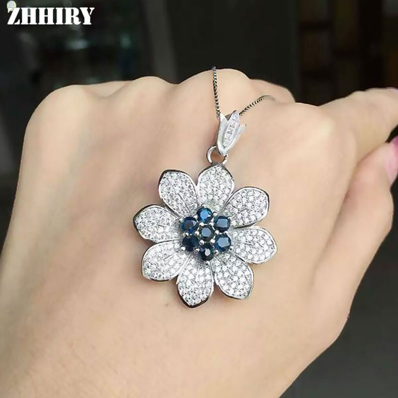 ZHHIRY Natural Sapphire S925 Sterling Silver Necklace Pendant For Wwomen Reaal Gemstone Fine Jewelry Flower ShapedZHHIRY Natural Sapphire S925 Sterling Silver Necklace Pendant For Wwomen Reaal Gemstone Fine Jewelry Flower Shaped