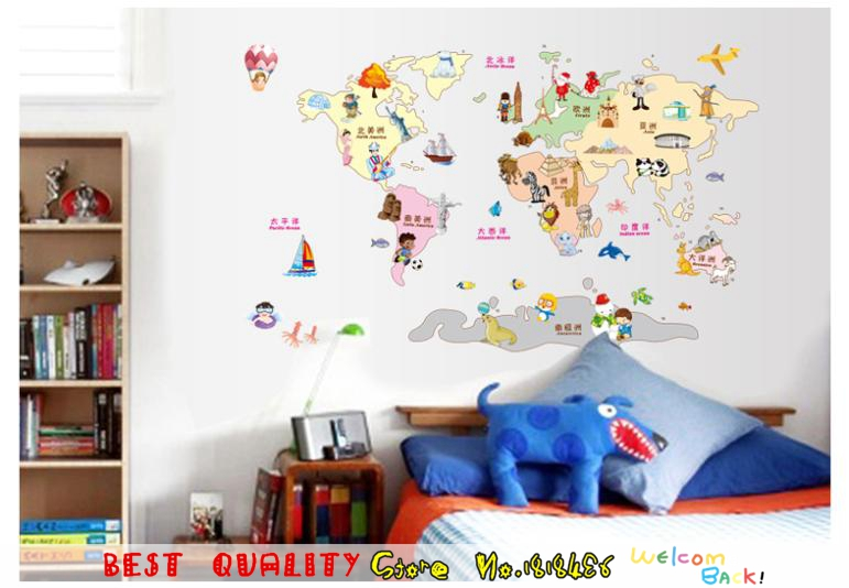 Aliexpress.com : Buy Fashion Cartoon Animals Plant Plan World Map Wall  Decal Sticker For Kids Room Decoration, Nursery Classroom Study Wall  Stickers From ... Part 87