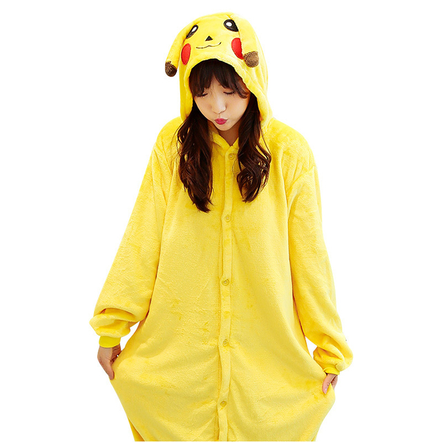 Family Pajamas Pokemon Kigurumi Pikachu Family Look Sleepwears Jumpsuit Flannel Cosplay Family Costume Family Matching Outfits