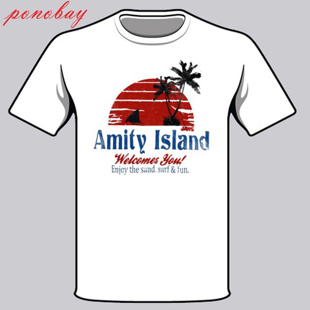 Fashion Summer Straight 100% Cotton New amity island shark attack Jaws Movie Men's White T-Shirt Size S - 3XL Tee Shirt image