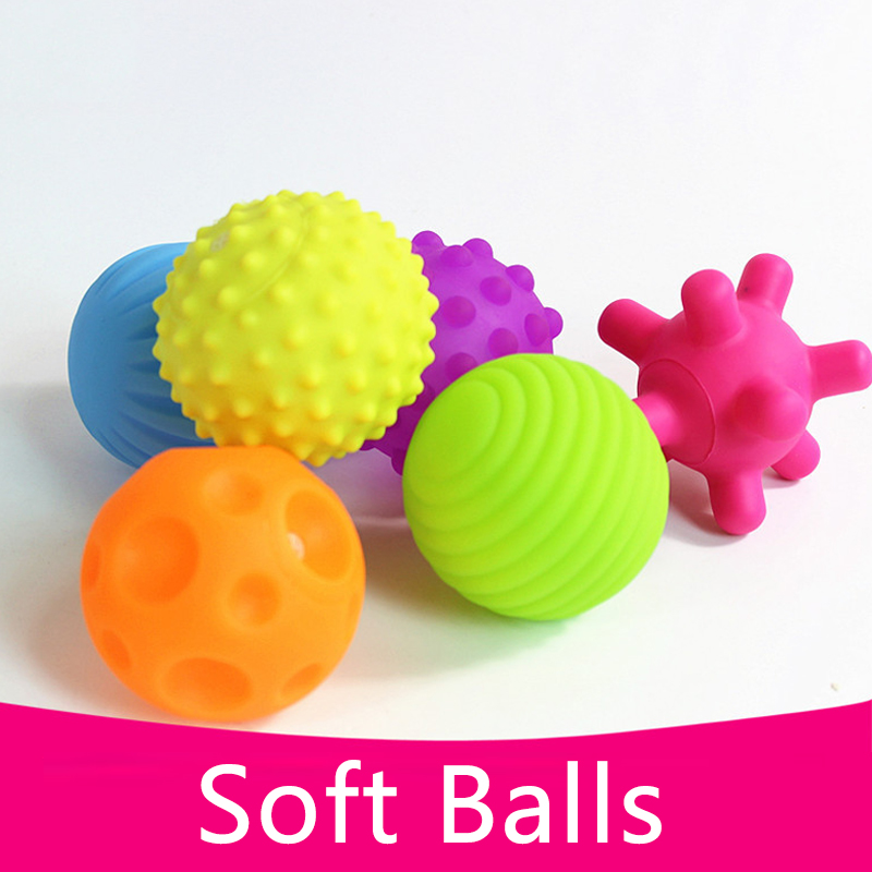 4 or 6Pcs New Textured Multi Ball Set Develop Baby Tactile Senses Toy Baby Touch Hand Ball Toys Baby Training Colorful Soft Ball цена