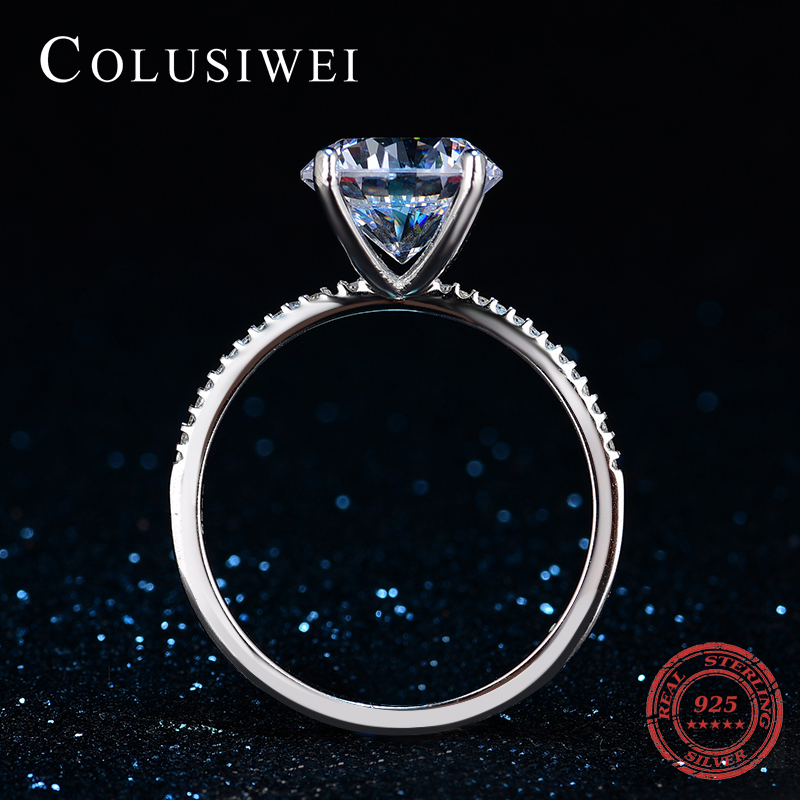 2018 Fashion Luxury Hot sale Women Engagement 925 sterling Silver Ring 10 Hearts Zircon Wedding Finger Bands Jewelry Rings