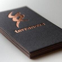 Impresión personalizada de tarjetas de visita, papel negro de alta calidad de 500g/m², lámina de cobre de seda dorada/estampado de tarjetas nama