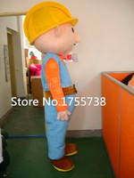 Adult Size Bob The Builder Mascot Costume Cartoon Fancy Dress