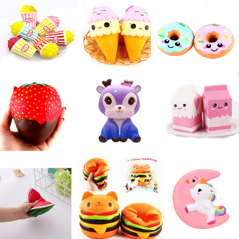 popular 21 Type Cake/Ice Cream/Food Squishy Jumbo Slow Rising Squish Toys Kawaii Squishies Antistress Funny Squeeze Toy For Kids jumbo squishy cute unicorn cake squishies super slow rising cream scented original package squeeze toy