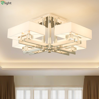 Moderne Chrome Metall Wohnzimmer Led Decke Lichter Stoff Shades Esszimmer  Led-deckenleuchte Wohnzimmer Decke Leuchten - diplom.asia