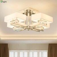 Moderno chrome metal sala de estar led luzes teto tecido tons sala jantar conduziu a lâmpada do teto sala estar luminárias teto