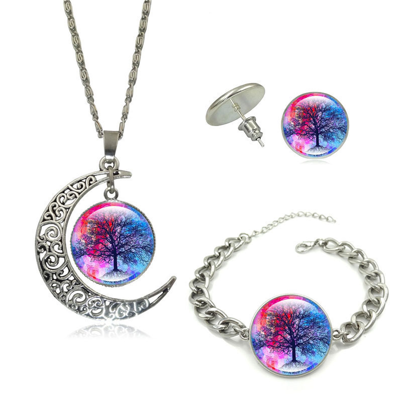 Vinage Jewelry Set Silver Plated with Illusion Tree of Life Pattern Glass Cabohcon Necklace Earring and Bracelet Set for Women