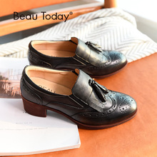 BeauToday Loafers Women Pumps Genuine Cow Leather Brogue Tassel Round Toe Slip-On Spring Autumn Ladies Shoes Handmade 15132 beautoday monk shoes women buckle straps genuine leather calfkin round toe lady flats handmade brogue style shoes 21408