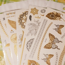 5pcs Feather Jewelry Art Removable Metallic Silver Products Body Tattoos Temporary Leaf Flower Stickers Random Gold Color Tattoo