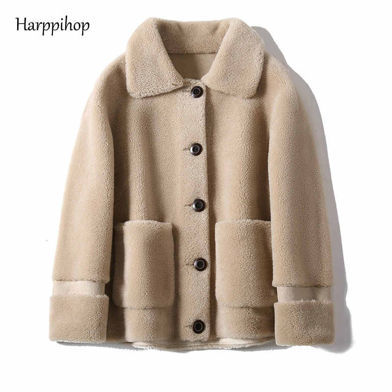 Real Fur Sheepskin Coat Women Winter  Genuine Wool Coats Female turndown Collar Winter Warm Sheep Shearing Jacket Outercoat