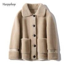 本物の毛皮のシープスキンのコート女性の冬の本物のウールコート女性ターンダウン襟冬暖かい羊せん断ジャケット Outercoat