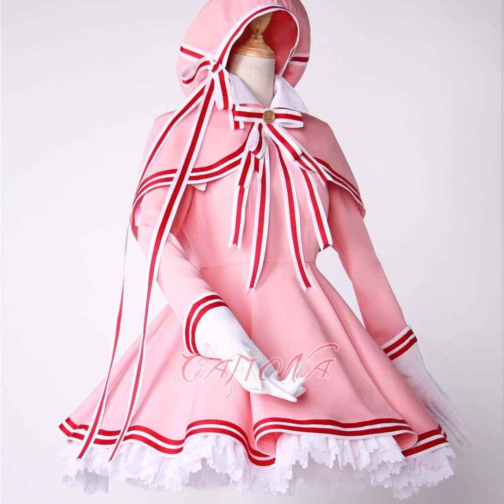 Cafiona новая карточка Captor Сакура КИНОМОТО Сакура красивый костюм для косплея девочек розовое платье на заказ - 2