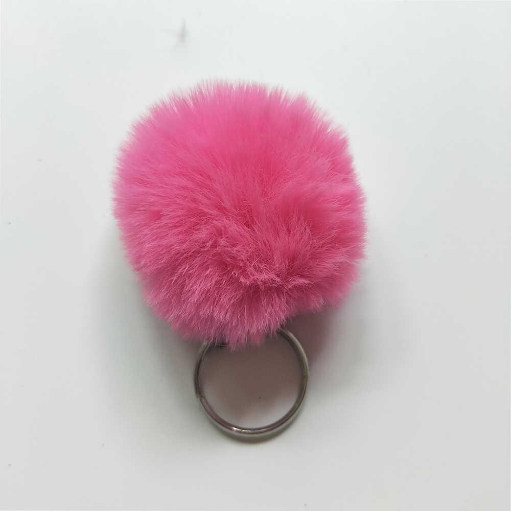 Пушистый помпон меховой шарик брелок для Для женщин из искусственного кроличьего меха брелок Шарм сумка брелок держатель ювелирных изделий подарок 4 см