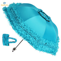 4 Colors High Quality Women Sun Rain Umbrella Anti UV Waterproof Parasol Folding Umbrella Lovely Princess