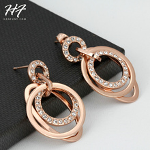 Ethnic CZ Crystal Party Earrings Rose/Sliver Color Rhinestone Vintage Wedding Jewelry For Women E057 E059(China)