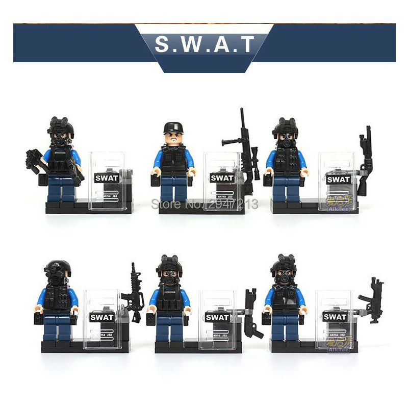 6 PZ hot compatible LegoINGlys City super Police SWAT army Military mini police figures Building blocks Toys for children gift 1711 city swat series military fighter policeman building bricks compatible lepin city toys for children