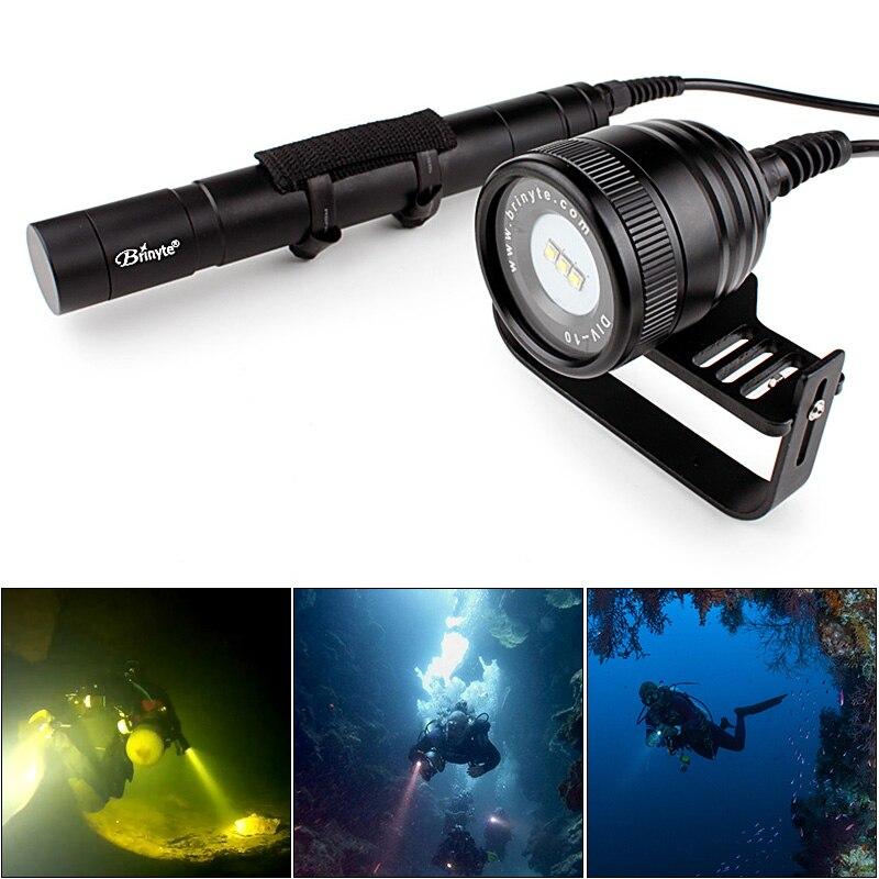 Brinyte DIV10 Водонепроницаемый светодиодный фонарик Дайвинг 3000 люмен 3x CREE XM_L2 светодиодный Подводные 200 м с 5 Режим для профессиональных дайвинг