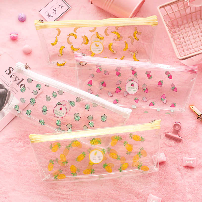 Cute Fruit Transparent Pencil Cases for girls Strawberry Banana PVC Stationery pouch Storage Bag School Office Supply Escolar