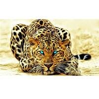 Leopard Icon Diamond Embroidery Full Rhinestone Square Diamond Leopard Tiger Diamond Painting 5d Diy Cross Stitch