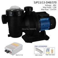 brushless solar powered swimming pool circulation solar water pump, dc pool pump motor SJP13/13 D48/370