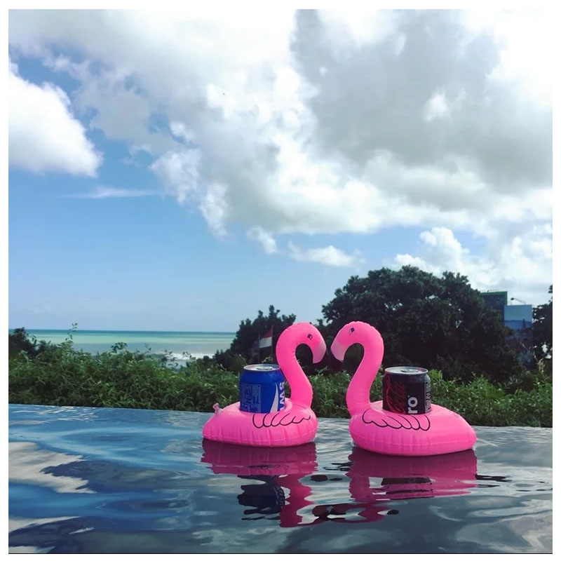 Summer Swimming Pool Floating Inflatable Flamingo Water Drinks Cup Beach Mobile phone Cup Care Floating Row