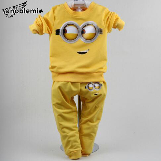 New Spring Baby Boys Girls Brand Clothing Sets Despicable Me Minions Print Long Sleeve T-Shirt+Pants Kids Casual Sports Suits