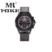 MK Mike Sport Watch Men Military Watch Wrist Watch Genuine Leather Strap Waterproof Unique Dial Design