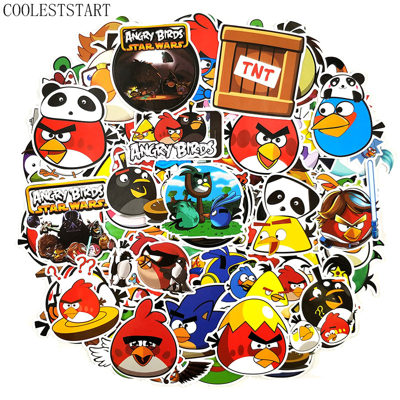 50 Pcs/set Angry Bird Cartoo Game Stickers For Laptop Bicycle Motorcycle Skateboards Luggage Diary Pegatinas Car Anime Stickers
