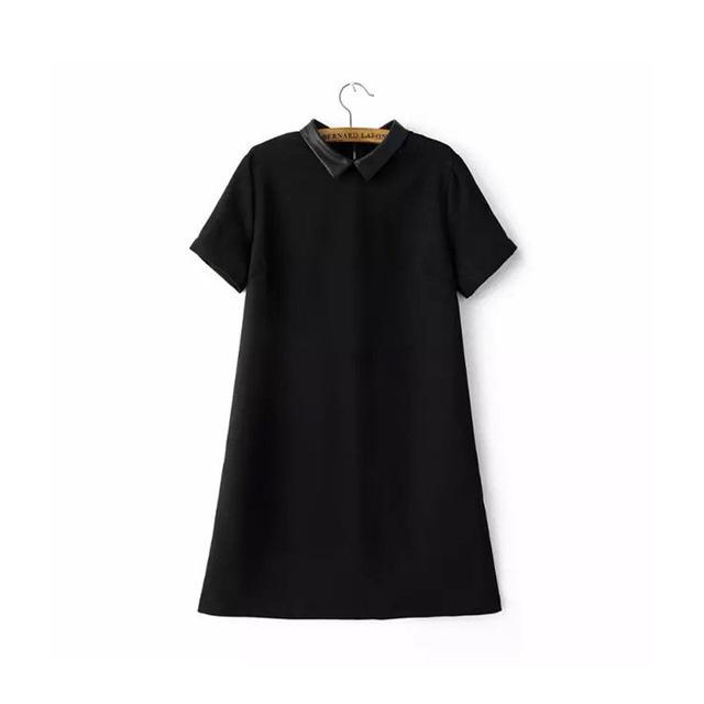 2016 Colar De Couro Curto Verão Vestido de Manga Curta Reta Vestido Preto Sólido Das Mulheres Vestidos Casuais