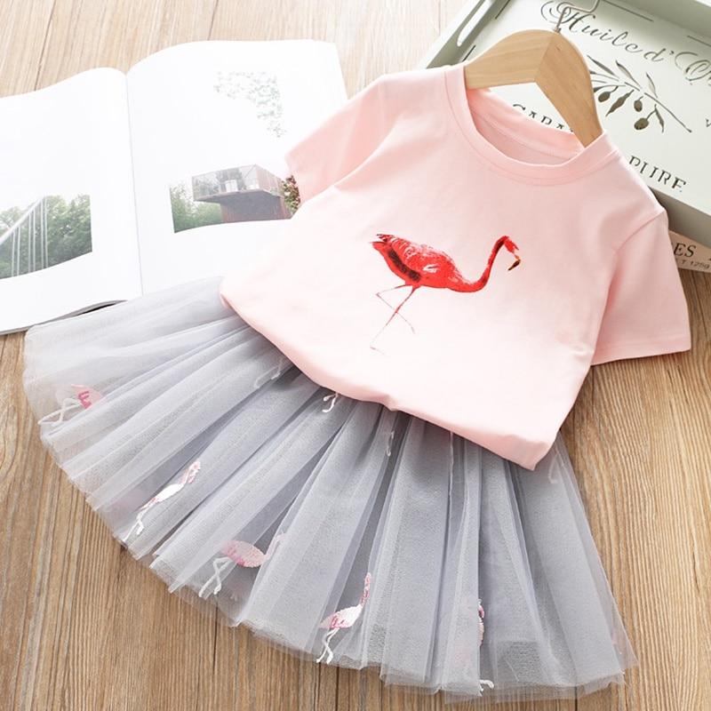HTB1KNdfUkvoK1RjSZFwq6AiCFXaH Girls Clothing Sets 2019 Summer Princess Girl Bling Star Flamingo Top + Bling Star Dress 2pcs Set Children Clothing Dresses