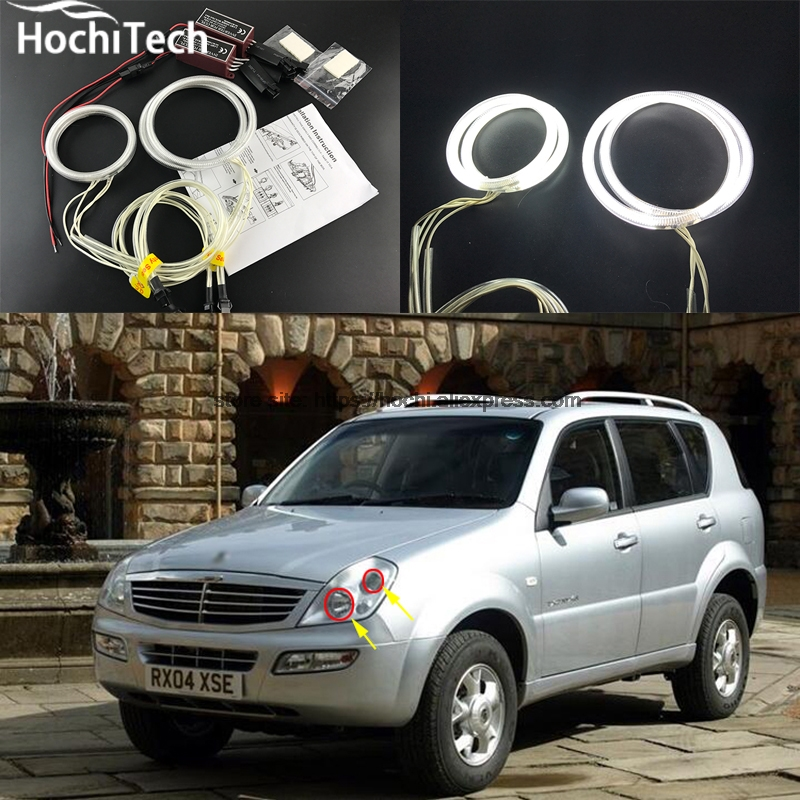 HochiTech Excellent CCFL Angel Eyes Kit Ultra bright headlight illumination for Ssangyong Rexton 2003 2004 2005 for alfa romeo 147 2000 2001 2002 2003 2004 halogen headlight excellent ultra bright illumination ccfl angel eyes kit halo ring