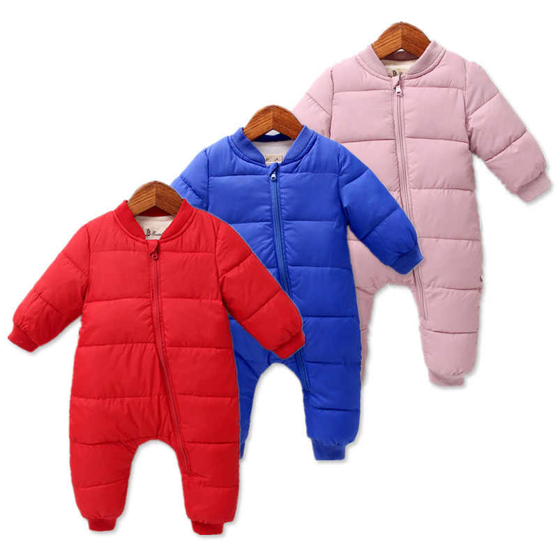 519a84a52de6 Winter Baby Rompers Jap-korean Style Girls Snowsuit Clothing Autumn Cotton  Padded Infant Warm Overalls