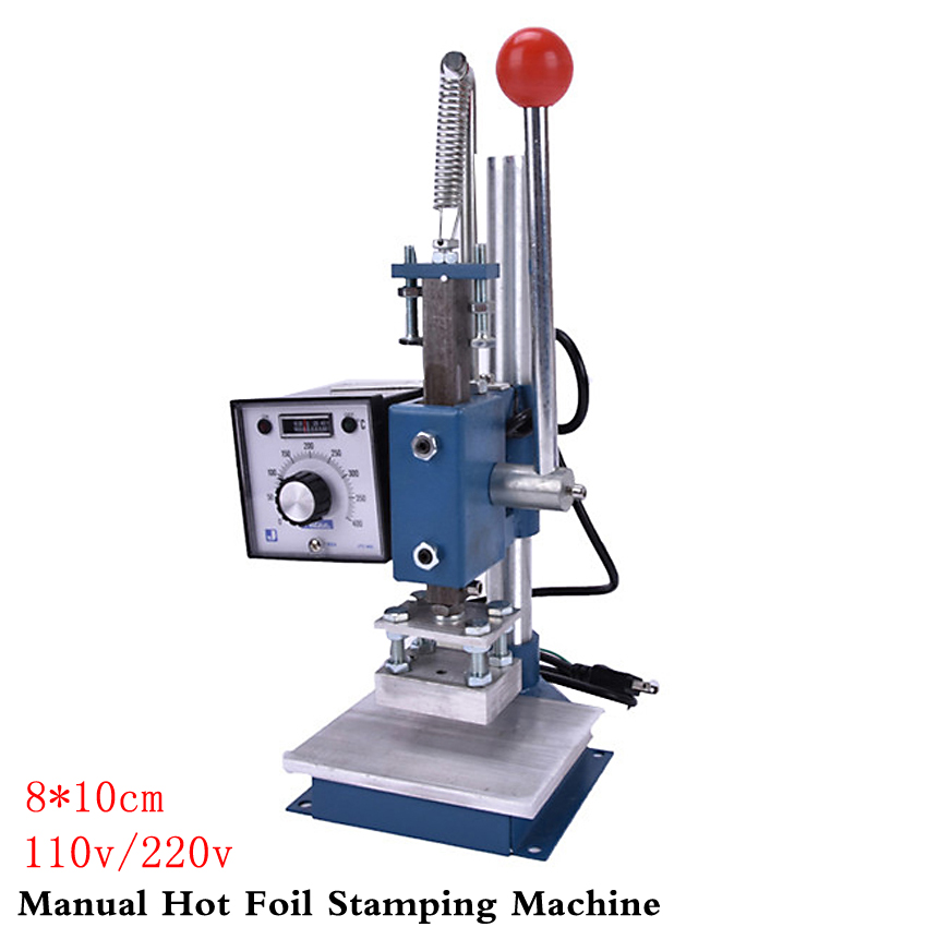 1Set Manual hot foil stamping machine foil stamper leather printer marking press embossing machine 8x10cm 110V/220V hot stamping machine hot foil pneumatic stamping press logo printer for leather paper etc customized printable area zy 819b