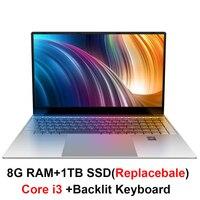 Ноутбук Core i3 15,6 дюйма с 8G ram 1 ТБ жесткий диск игровой компьютер-лэптоп с подсветкой клавиатуры ips дисплей ноутбук Win10 OS