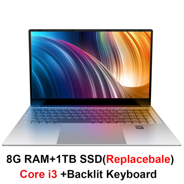 Core i3 מחשב נייד 15.6 אינץ עם 8G RAM 1 TB דיסק קשיח משחקי מחשבים ניידים מחשב עם תאורה אחורית מקלדת IPS תצוגת מחברת Win10 OS