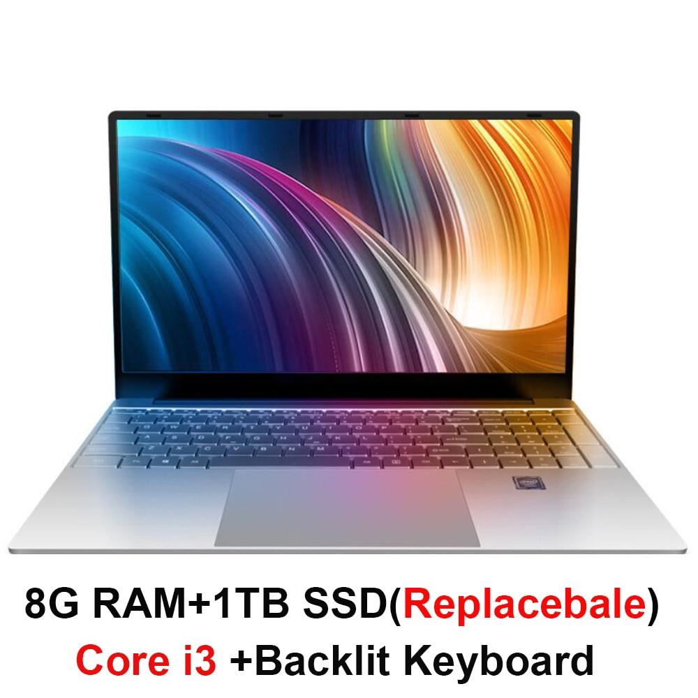 Core i3 ordinateur portable 15.6 pouces avec 8G RAM 1 to disque dur ordinateurs portables de jeu ordinateur avec clavier rétroéclairé IPS affichage ordinateur portable Win10 OS