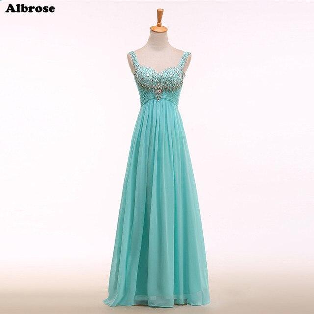 Mint Evening Dress Crystals Beaded Elgant Evening Dresses Long