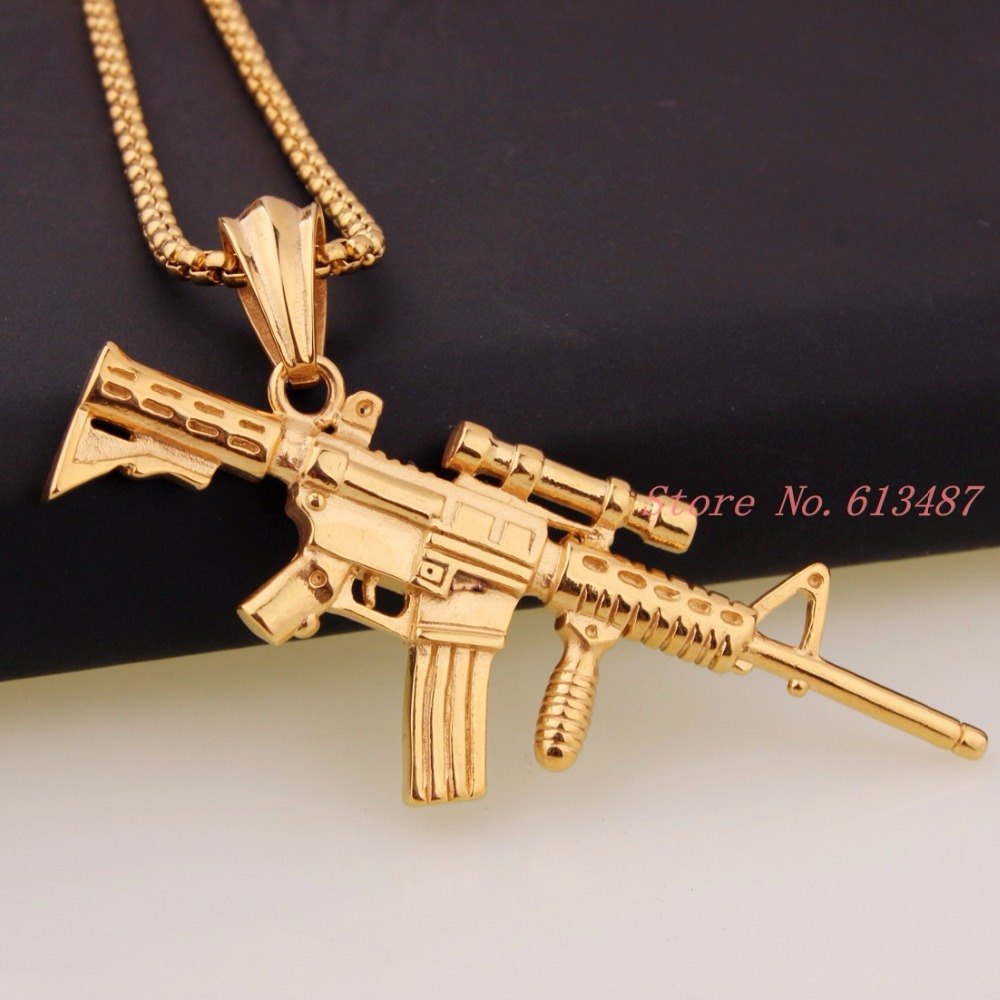 Newst Design Punk Gothic Gold Tone Sniper Rifle Shape Men s Jewelry Stainless Steel Pendant Necklace