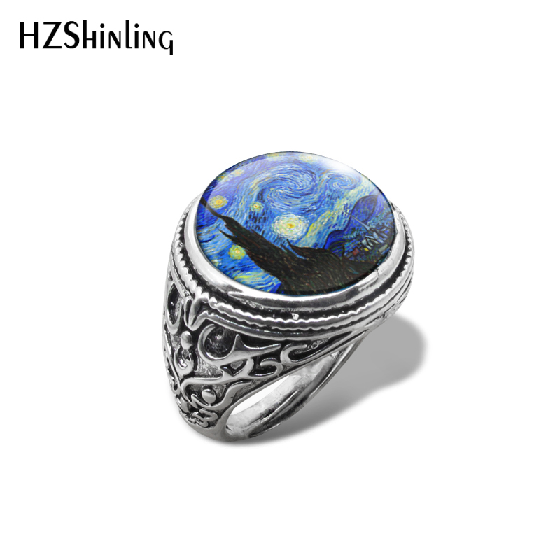 Vintage Ring Jewelry Painting-Rings Van-Gogh Glass Handmade Starry Night New Art Dome