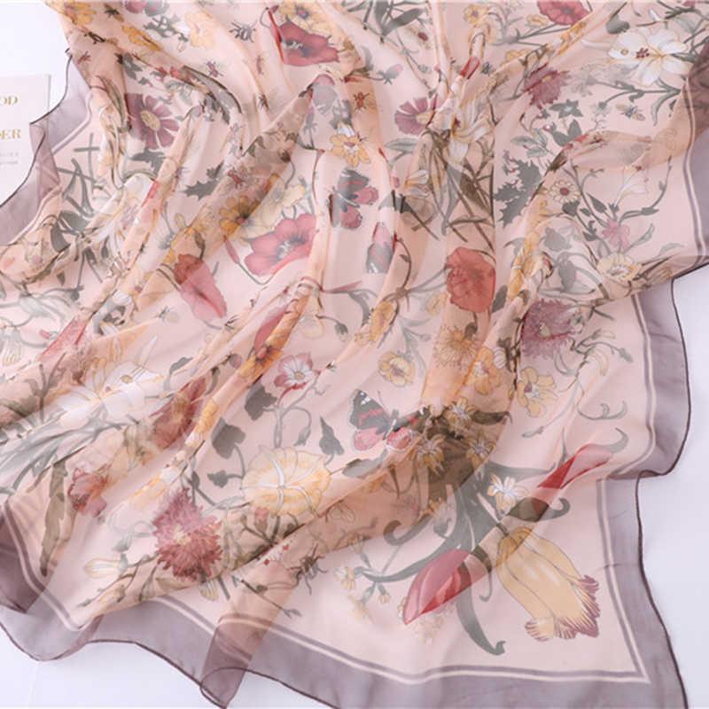 シルクシフォン女性の花のビーチハンカチ大サイズのスカーフ女性ショール夏ヒジャーブ高級ブランドのパレオティペット