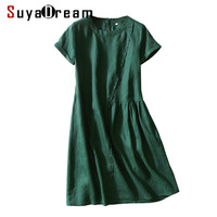 Women Silk Dress 100%Linen Solid Office Lady Dresses for Women O Neck Knee Length Silk Dress 2019 Summer Dress