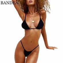 55002ba06 BANDEA Bikini Mulheres Sexy Push Up Swimwear Praia Conjunto Biquíni Fio  Dental Micro Biquini Swimsuit Brasileiro
