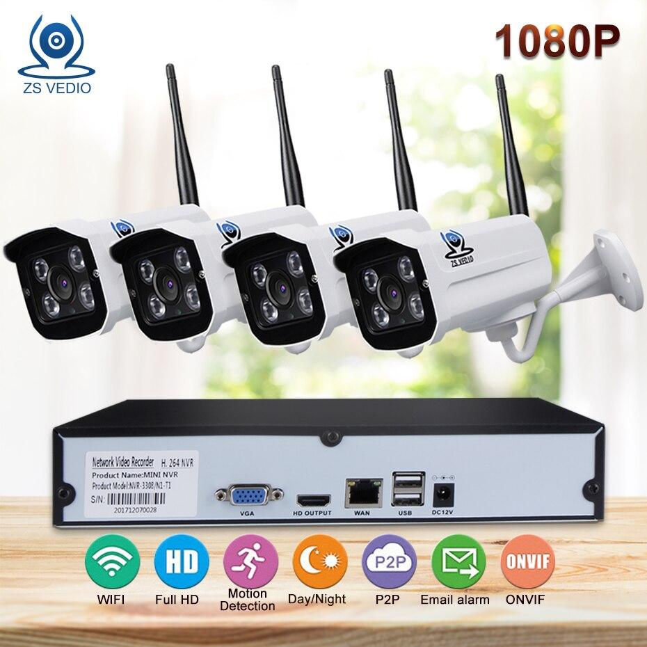 ZSVIDEO Surveillance System Security Camera wireless Home Outdoor Motion 1080P Full HD Night Vision Alarm NVR Kits Camera CCTV