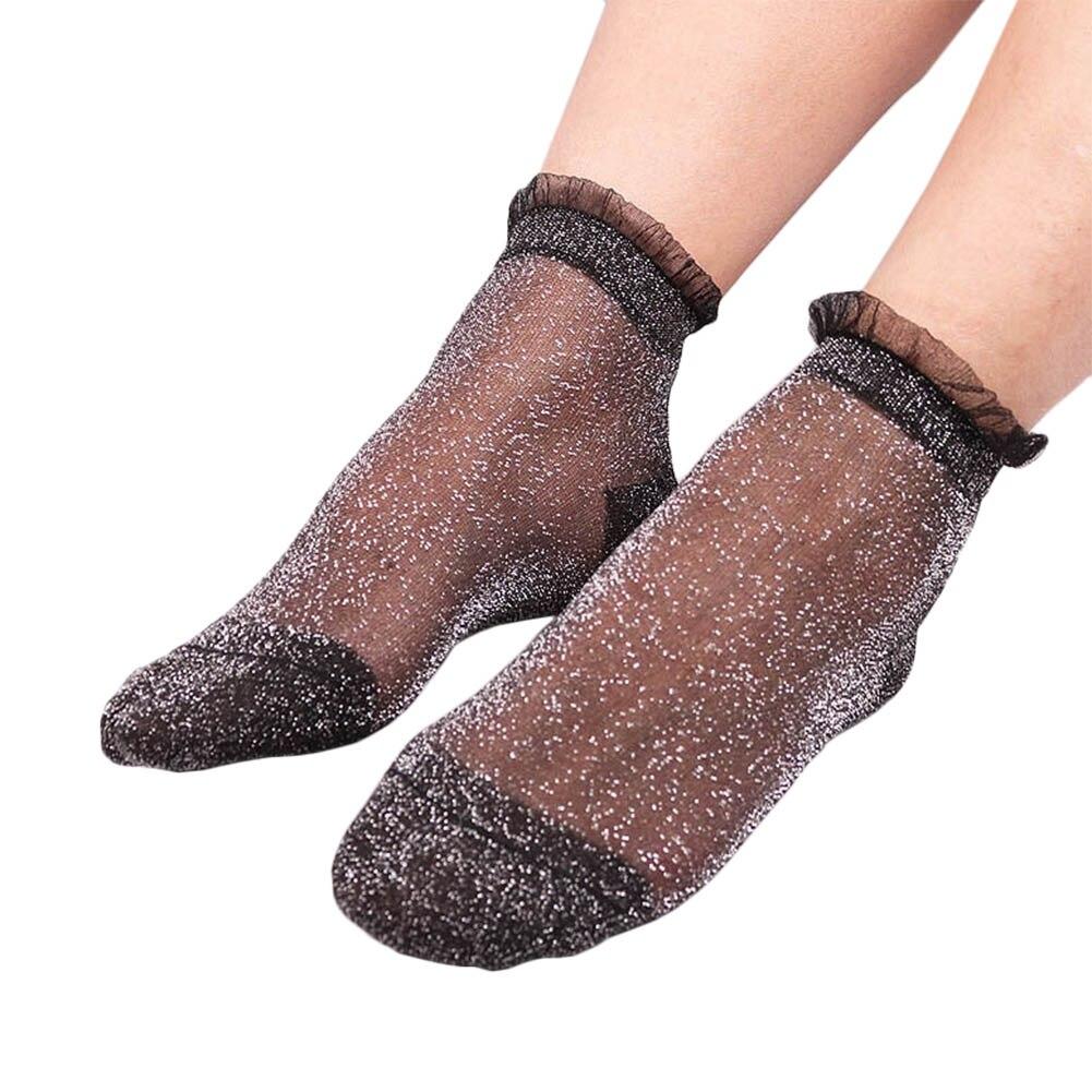 1 Pair Fashion Women Lace Socks Crystal Glass Silk Short Thin Transparent Ruffle Hem Socks H9