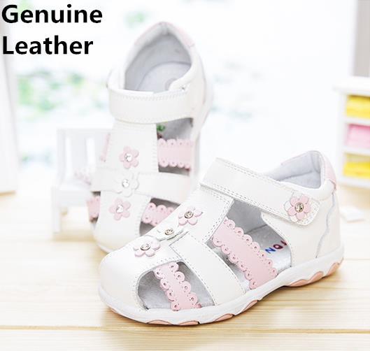 Alta qualidade 1 par bebê menina genuínos sandálias de couro crianças ortopédicos arch suporte shoes, crianças suave sole shoes, venda quente