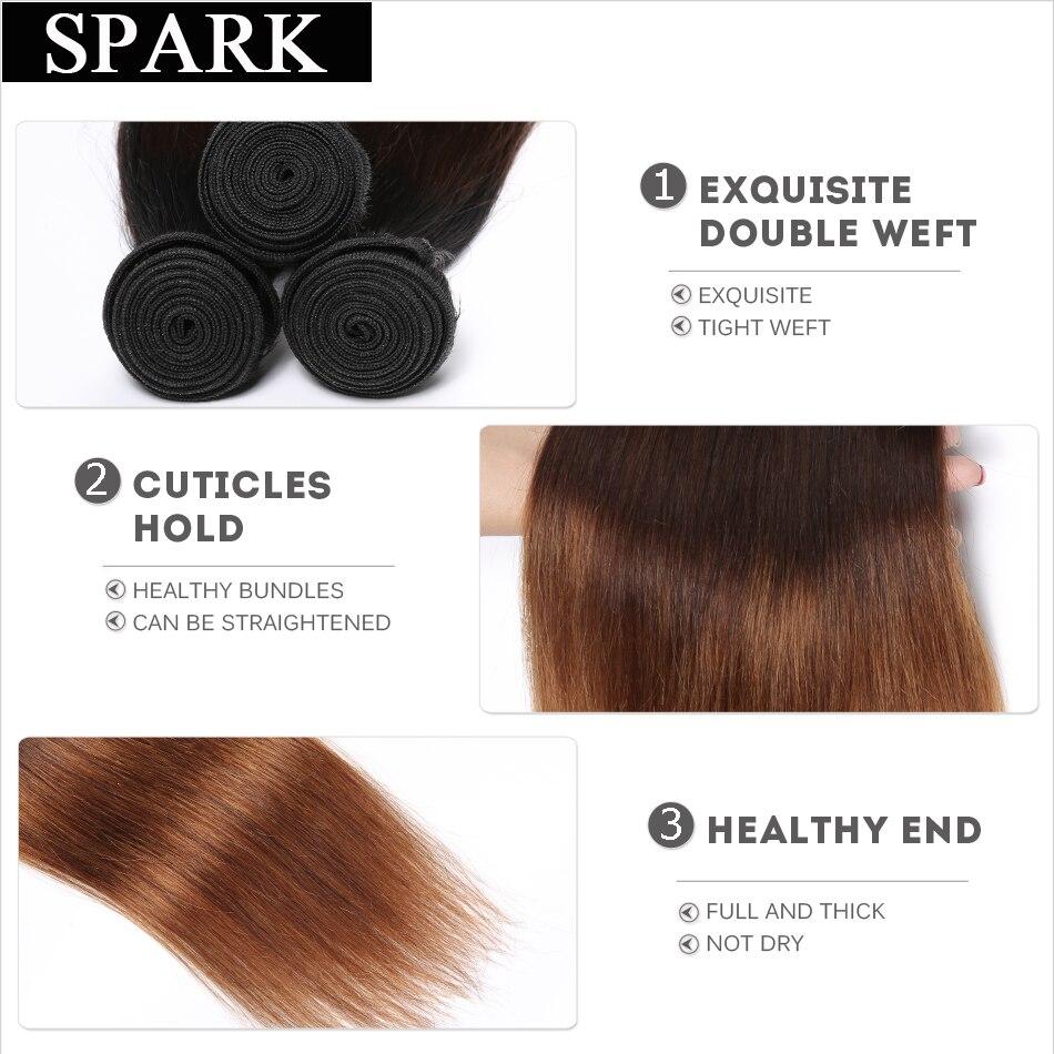 Spark 1B / 4/30 Ombre Brazīlijas taisni mati 1/3 / 4PCS Remy matu - Cilvēka mati (melnā krāsā) - Foto 3