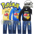 2016 Children's Clothing Sets for Autumn Winter Baby Boy Suit Long Sleeve Pokemon Pikachu Print Pullover+Jeans 2pcs Suit Set